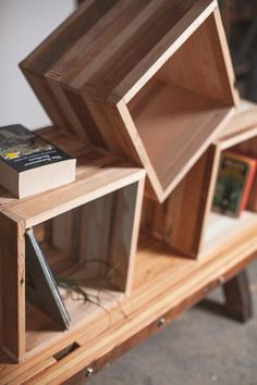 reclaimed wood storage cube. $75.00, via Etsy.