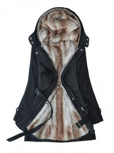 For when I go home to Chicago. High Quality Faux Fur Woolen Black Winter Coat