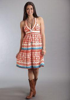 Stetson® Orange Printed Western Sundress