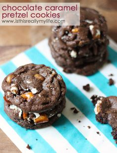 Chocolate caramel pretzel cookies -- rich, fudge cookie with chopped white fudge pretzels and caramel bits. To DIE for! | isthisREALLYmylife.com #recipe #cookie #dessert #flipz