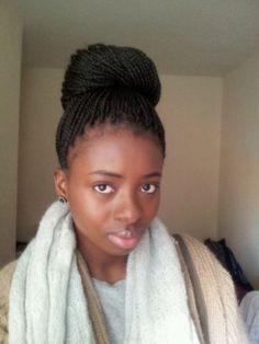 box braids bun, hair nail, boxes, natur hair, hair inspir, beauti, hair style, hair care, senagalese twist styles
