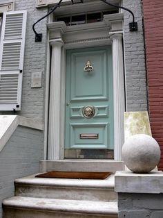 Love the door! the doors, blue doors, tiffany blue, robin egg blue, front doors, paint, hous, front door colors, blues