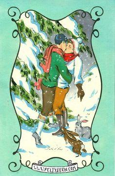 Tender Snowfall, Male Nude Figure Drawing Fine Art Erotic, christmas gay card vintage snow