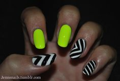 I know I have already posted something similar to this but I just can not resist a neon/black and white combo.  Neon yellow: Orly-Glowstick