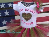 Camo Cutie Tutu, My Daddy My Hero shirt and hair bow size 24 months-4T (available in ACU, ABU, Navy Digital and Multi Cam)  #ThatsSewSavanna  #thecraftstar  $40.00
