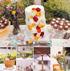 red and orange cake flowers