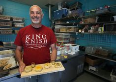 Ramni Levy, owner of King Knish, is photographed with knishes in the cooperative kitchen at the La Victoria Mexican bakery in San Francisco, Calif., on Friday, Oct. 10, 2014. (Jane Tyska/Bay Area News Group)