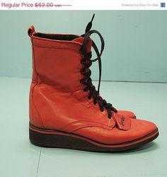 SALE VIntage Wedge Grunge Red Ropers 6.5 by WelcomeHomeVintage