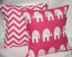 Pillow Covers Candy Pink Chevron and Elephants Throw Pillows Baby Nursery Girls Bedroom Decor 18 x 18 set of 2 via Etsy