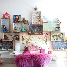 shelving ideas for kids rooms, little boxes, kids wallpaper ideas, box room bedroom ideas, shadow box, kid rooms, wallpaper for kids rooms, doll houses, colourful bedroom ideas