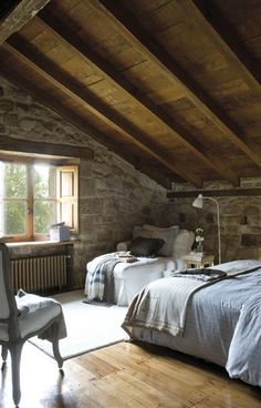 Stone walls and high gabled roof...