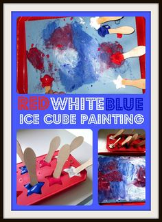Red White Blue Ice Cube Painting