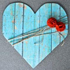 Simple DIY faux wood heart decor.