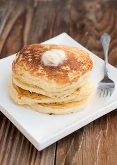 BEST homemade buttermilk pancakes recipe on ohsweetbasil.com