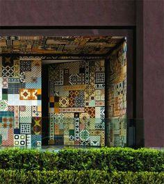 ladrilho hidraulico na parede, mosaico de ladrilhos hidraulicos, jardim