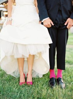 love love love colored shoes with a wedding dress!