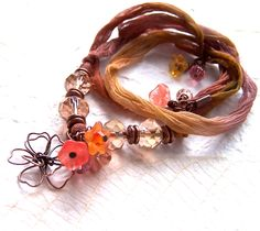 Sari Ribbon Bracelet Silk Wrap Beaded Boho, Phoebedreams