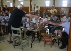 Tom Holtkamp's seat weaving demonstration 2011 at the 4th Annual Gathering of The SeatWeavers' Guild, in Noblesville, IN