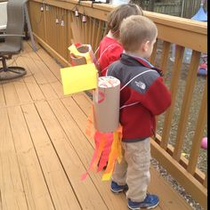 Oatmeal container jet packs made at my son's preschool. Great craft with their space unit!