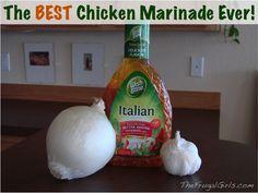 The BEST Chicken Marinade Ever! {it's the secret to tasty, moist chicken} via TheFrugalGirls.com #chicken #recipes