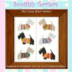 Scottish Terriers in their colorful shirts. Stitch them as a sampler or individually. stitch mini, terrier mini, mini cross, cross stitch charts, minis, sampler cross, mini sampler, cross stitches, scottish terriers