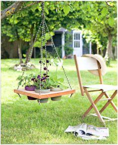plant holders, hanging plants, tree branch, bird feeder, flower pots, swing, hanging planters, garden, hanging pots