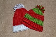 Santa & Elf Knit Hats for Infants/Toddlers by TeamDrobo on Etsy