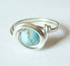 Turquoise Ring Silver Wire Wrap Jewelry. $10.00, via Etsy.
