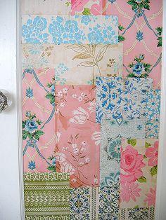 Patchwork wallpaper door...http://rosylittlethings.typepad.com/posie_gets_cozy/images/closetdoor7.jpg