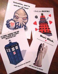 Doctor Who valentines! Free .pdf at the link.