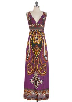 Beach Royalty Dress - Purple, Orange, Yellow, Black, White, Print, Casual, Maxi, Tank top (2 thick straps), Summer, Long, Multi