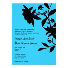 Malibu blue floral wedding invitation. Customizable.  Background can be changed to any color!