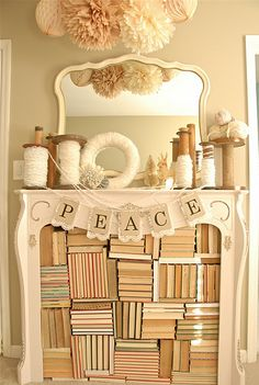 book filled fireplace & mantle