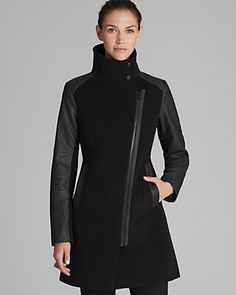 Marc New York Coat - Textured with Faux Leather | Bloomingdale's