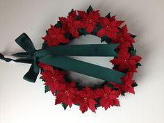 Wreath wreaths poinsettia poinsettias felt red green buttons bows ribbon merry christmas. Holiday holidays ribbon  etsy pairofpetals