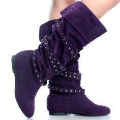 Purple-Suede Winter Studded Strap Comfort Womens Flat Knee High Boots