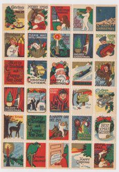 1920'S VINTAGE SANTA CLAUS CHRISTMAS STAMPS