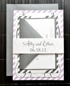 Georgina Wedding Invitation Suite with Belly Band - White, Lavender Purple and Charcoal, Customizable