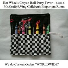 Hot Wheels Crayon Roll Party Favor (Match to Hot Wheels Coloring Book)