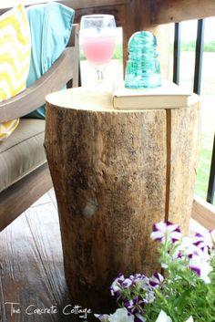 idea, tree stumps, tree fall, reuse furniture, porchesoutdoor room, trees, end tables, diy, front porches