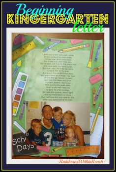 Welcome to Kindergarten Letter for Parents, Poem for Kindergarten (From Kindergarten WrapUP at RainbowsWithinReach)