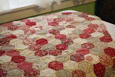 Handmade Original Design Vintage Style Honeycomb Hexagon Baby Quilt - Rouennerie Deux