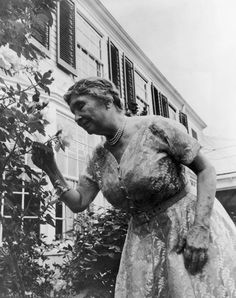 Helen Keller at 80  ::  smelling a rose in a garden  ::  author and lecturer, learned to communicate though she had been deaf and blind from childhood.  ::  c.1960 author, rose, communic, art, childhood, blind, garden, blossoms, helen keller