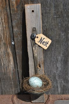 Primitive Wall Hanging Barnboard and Nest.