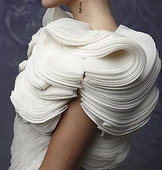 Fabric Manipulation for Fashion - dramatic 3D structure created by layering up folded fabric shapes; couture sewing inspiration // Christos shrug
