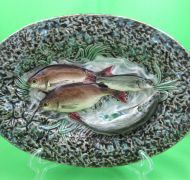 French Palissy Choisy le Roi Majolica Fish on Waves Oval Platter