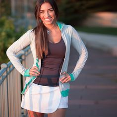 Another cute #workout jacket!  #albionfit  The Sweet Stripe Full Zip, Seafoam/Grey  $88 #workoutgear #gear