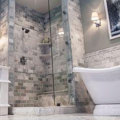 Love this grey bathroom!!!