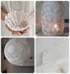 vintage craft ideas | starched doily basket 2. burlap doily luminaries