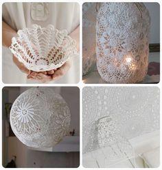 vintage craft ideas | starched doily basket 2. burlap doily luminaries